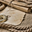 Old paper with compass and rope — Stock Photo