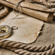 Royalty-Free Stock Photo: Old paper with compass and rope
