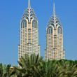 View of the Chrysler building in Dubai - Stock Photo