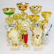 Sports trophies on a white background — Stock Photo