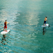 Two surfer in calm water - Foto Stock