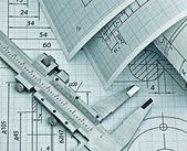Disegno tecnico contorto — Foto Stock