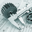 Mechanical drawing and pinion — Stock Photo #18521029