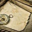 Old paper with compass and rope — Stock Photo #18587111
