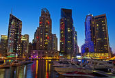 Night view Yacht Club in Dubai Marina — Stock Photo