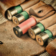 Old hunting cartridges and bandoleer on a wooden table — Stock Photo #18597683