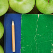 Apple and a notebook on a wooden background — Stock Photo #18597709