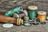 Still life of spools of thread — Stok fotoğraf