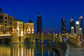 The area with tourist near Burj Khalifa. It is the world's tallest skyscrape — Stock Photo