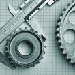 Stock Photo: Gears and caliper