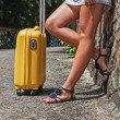 Royalty-Free Stock Photo: Female feet with yellow suitcase