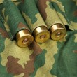 Old hunting cartridges and bandoleer on camouflage background - Photo