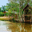Foto Stock: Old wooden house on lake in tropics