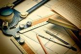 Antigos desenhos técnicos — Foto Stock