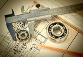 Mechanical scheme and bearing — Stock Photo