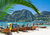 Traditional Thai Longtail boat on the beach of Phi Phi Don — Photo
