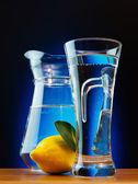 Glass of soda wate and lemon — Stock Photo