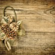 Christmas decoration on the old wooden background — Stock Photo