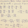 Page of old textured vintage paper with the calculation of the h - Stock Photo