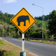 Elephants crossing the road sign — Stock Photo
