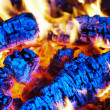 Coals burning in the fireplace — Stock Photo