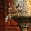 Stock Photo: Old brass samovar on kitchen