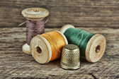 Still life of spools of thread — 图库照片