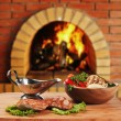 Dishes of roast meat  in Russian cuisine  with an oven and a bur - ストック写真
