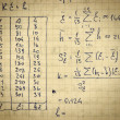 Page of old textured vintage paper with calculation of h — Stock Photo #23548529