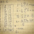 Page of old textured vintage paper with the calculation of the h — Стоковая фотография