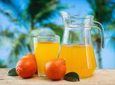 Tangerine and juice — Stock Photo