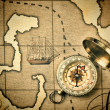 Old compass on a stylized map - Photo