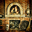 Stock Photo: Russiinterior kitchen with oven and burning fire