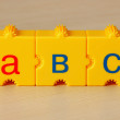 School cubes with letters on the table — 图库照片