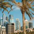 High rise buildings and palm trees in Dubai, UAE - Stock Photo