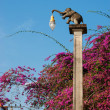 Street lamp in the form of an elephant in thailand - Stock Photo