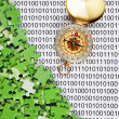 Royalty-Free Stock Photo: Puzzles and compass on a binary code