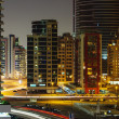 Nigh view of the Dubai Marina district Greens — Stockfoto