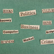 Royalty-Free Stock Photo: Collage word cut from newspaper on green background