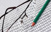 メガネと鉛筆 — ストック写真
