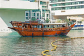 Old wooden boat in the Gulf in Dubai Marina — Stock Photo
