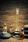 Vials of perfume oils in fragrance lab — Stock Photo