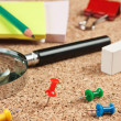 Stock Photo: Office supplies in mess on table