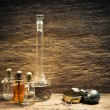Vials of perfume oils in fragrance lab — ストック写真