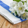 Table-napkin and bird cherry branch on a wooden background - Stock Photo