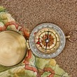 Compass on the map with sand — Stock Photo #25619241