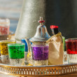 Arabic tea glasses with ornament — Stock Photo