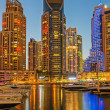 Dubai Marina at night. United Arab Emirates — Foto Stock