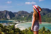 Girl at the resort in a dress on the background of the bays of t — Stock Photo