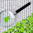 Royalty-Free Stock Photo: Puzzles and magnifying glass on a binary code